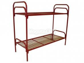 Кровать металлическая двухъярусная П-образная спинка